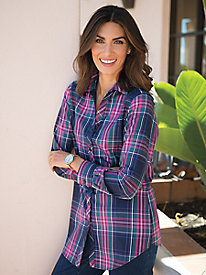 Women's Foxcroft Long-Sleeved Plaid Shirt