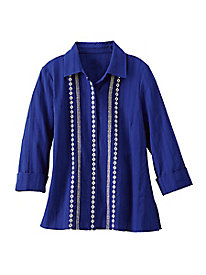 Women's Cool Blue Cotton Dobby Blouse