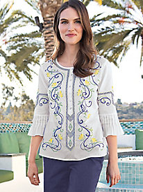 Women's 3/4 Sleeve Woven Embroidered Tunic