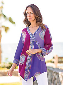 Women's Batik Faux-Wrap Tunic