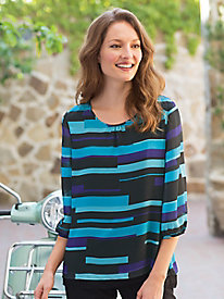 Women's Multi-Stripe Split-Back Top