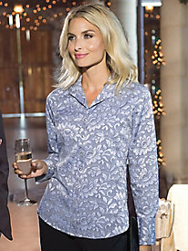 Women's Foxcroft Lace Jacquard Wrinkle-Free Shirt