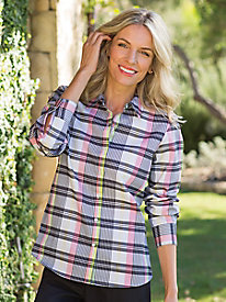 Women's Foxcroft Wrinkle-Free Spring Plaid Long-Sleeve Shirt