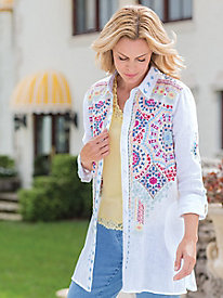 Women's Linen Mosaic Embroidered Tunic