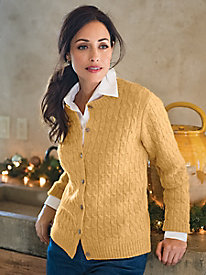 Women's Cabled Wool Cardigan by Norm Thompson