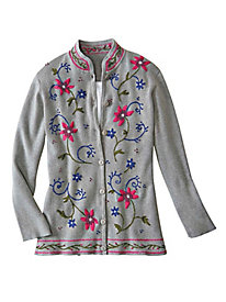 Women's Embroidered Cotton Cardigan