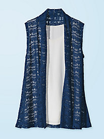 Women's Solid Crochet Vest