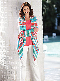 Women's Foxcroft Seaside Stripe Cardigan