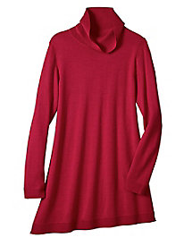 Women's Merino Wool Asymmetrical Turtleneck Tunic