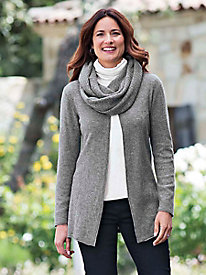 Women's Fine-Gauge Long Cashmere Cardigan