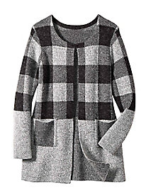 Women's Two-Tone Multi Check Sweater Coat