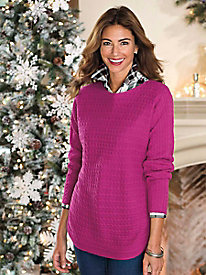 Women's Foxcroft Curved Hem Cable-Trimmed Sweater