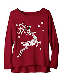 Women's Prancing Reindeer Sweater
