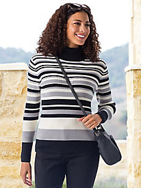Women's Ribbed Striped Turtleneck Sweater