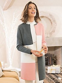Women's Colorblock Sweater Coat