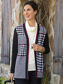 Women's Artistically Houndstooth Cardigan
