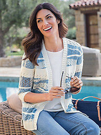 Women's Stitch-Stripe Print Cardigan