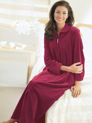 Women S Long Amp Knee Length Robes Zip Front Fleece