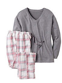 Women's Plaid Knit PJ Set