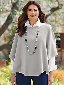Women's Button-Shoulder Bateau Poncho