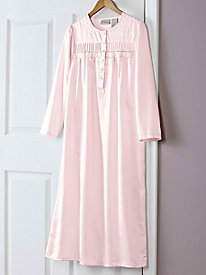 Women's Brushed-Back Satin and Lace Embroidered Nightgown