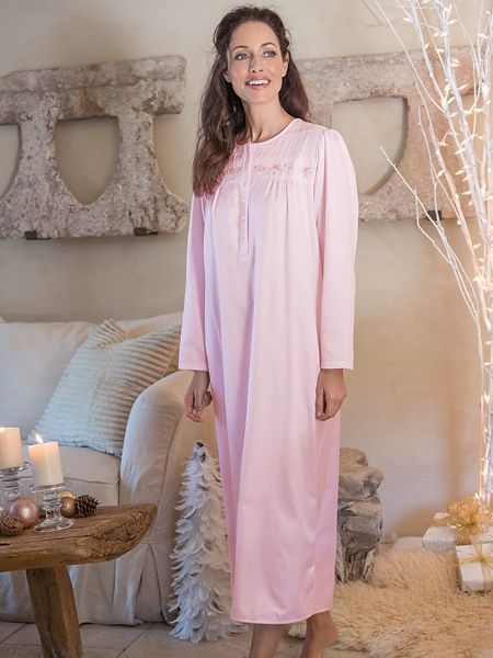 Women s KayAnna Brushed-Back Embroidered Satin Nightgown  a6d42e591