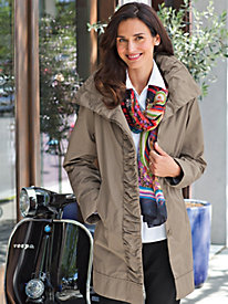 Women's Ruffle-Front Raincoat