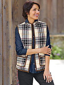 Women's Foxcroft Plaid Quilted Vest