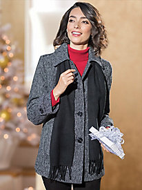 Women's London Fog Wool Coat with Scarf