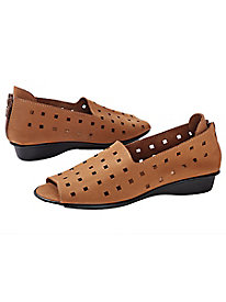 Women's Sesto Meucci Peep-Toe Leather Loafers