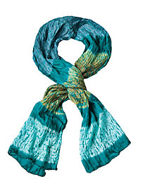 Turquoise and Amber Crinkle Scarf