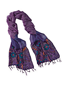 Women's Hand-Embroidered Wool Scarf