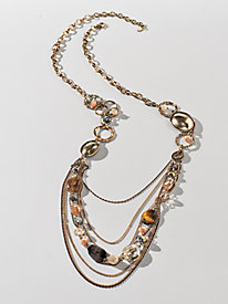 Women's Bead and Metal Necklace
