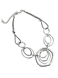 Women's Silver Circles Necklace