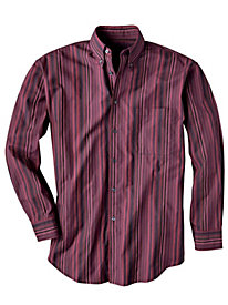 Men's Striped Burgundy Shirt