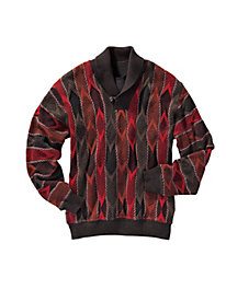 Men's Shawl-Collar Patterned Pullover