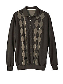 Men's Long-Sleeved Argyle Polo Pullover