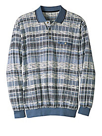 Men's Knit Plaid Polo Pullover