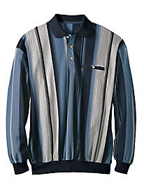 Men's Vertical Stripe Polo Pullover