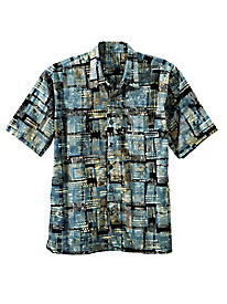 Men's Retro Grid Batik Shirt
