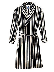 Men's Cool Stripes Cotton Sateen Robe by Norm Thompson