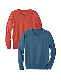 Men's Cotton & Cashmere Donegal V-Neck