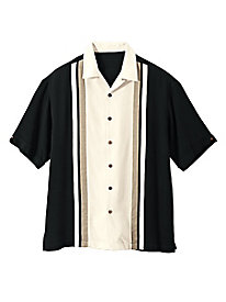 Men's Colorblock Silk Shirt