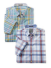 Men's Enro Wrinkle-Free Short Sleeve Plaid Shirt