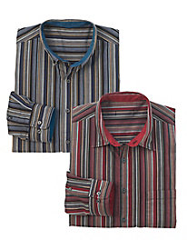 Men's Savvy Striped Button-Down Shirt