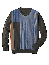 Men's Colorblock Stripes Crewneck Sweater