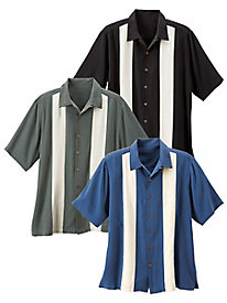 Men's Washable Silk Panel & Pickstitch Shirt