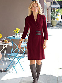 Women's BuckleBow Knit Sweater Dress