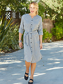 Women's Crinkle Check Shirtdress