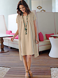 Women's Silk/Linen Pintuck Dress